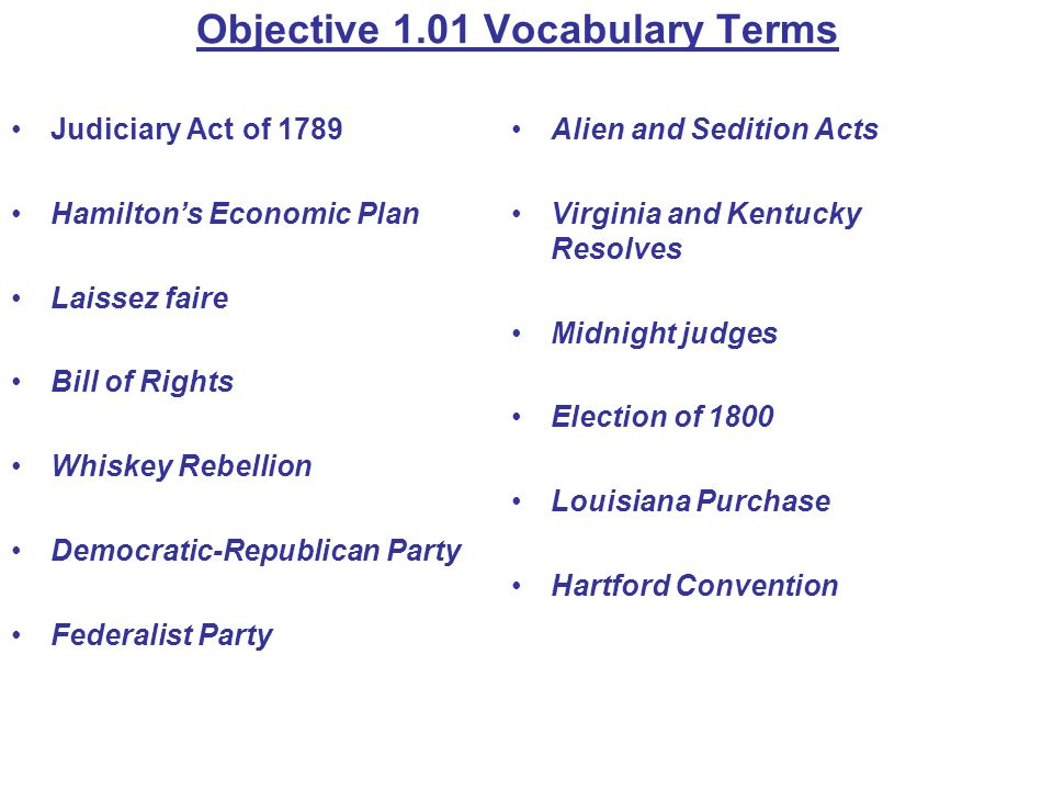 Objective 1.01 Vocabulary Terms