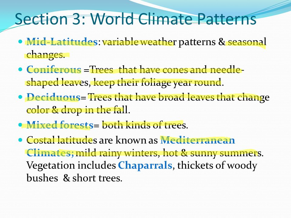 Section 3: World Climate Patterns