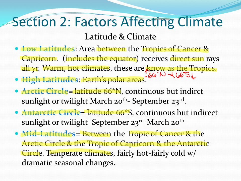 Section 2: Factors Affecting Climate