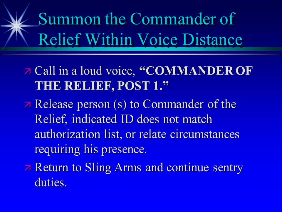 Summon the Commander of Relief Within Voice Distance