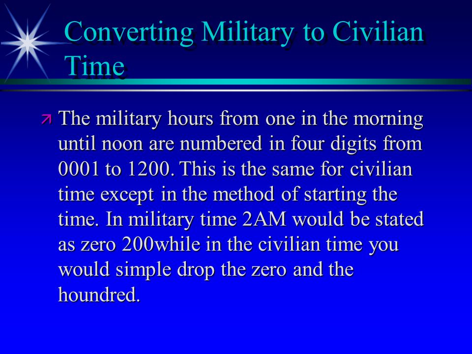 Converting Military to Civilian Time