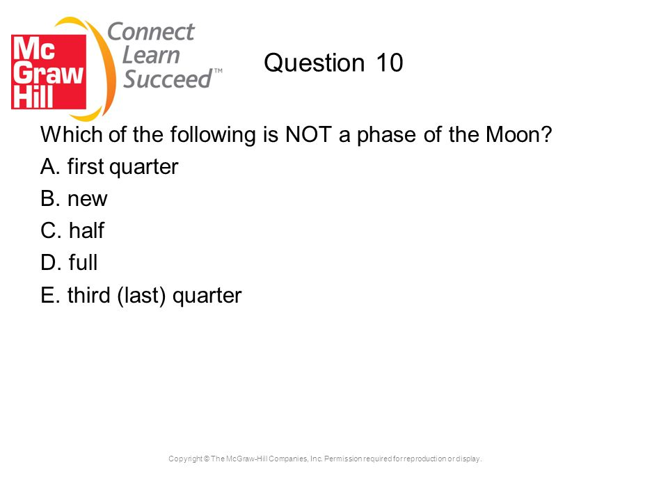 Question 10 Which of the following is NOT a phase of the Moon