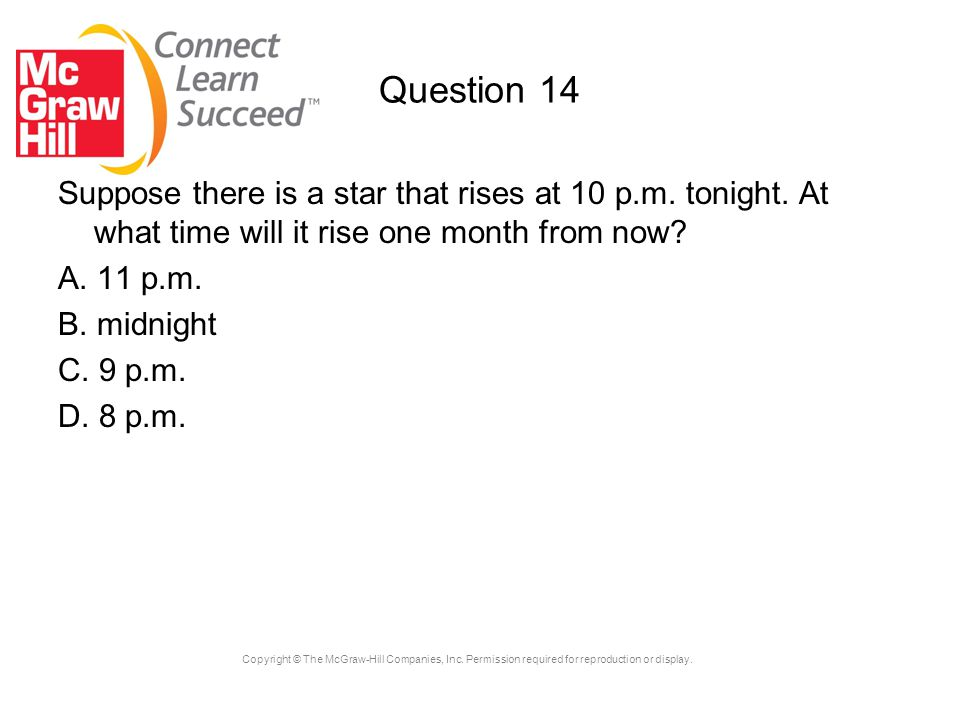 Question 14 Suppose there is a star that rises at 10 p.m. tonight. At what time will it rise one month from now