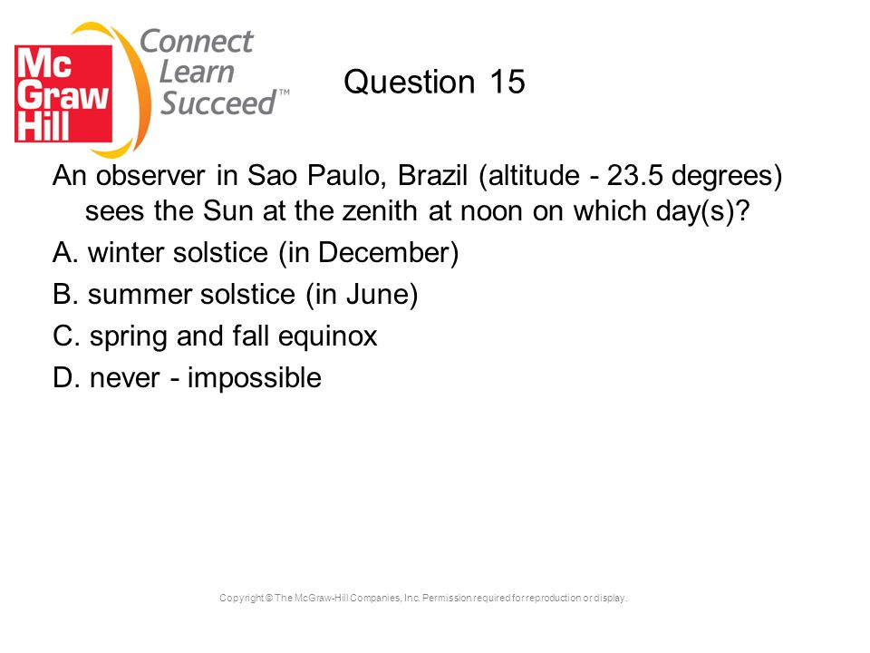 Question 15 An observer in Sao Paulo, Brazil (altitude - 23.5 degrees) sees the Sun at the zenith at noon on which day(s)