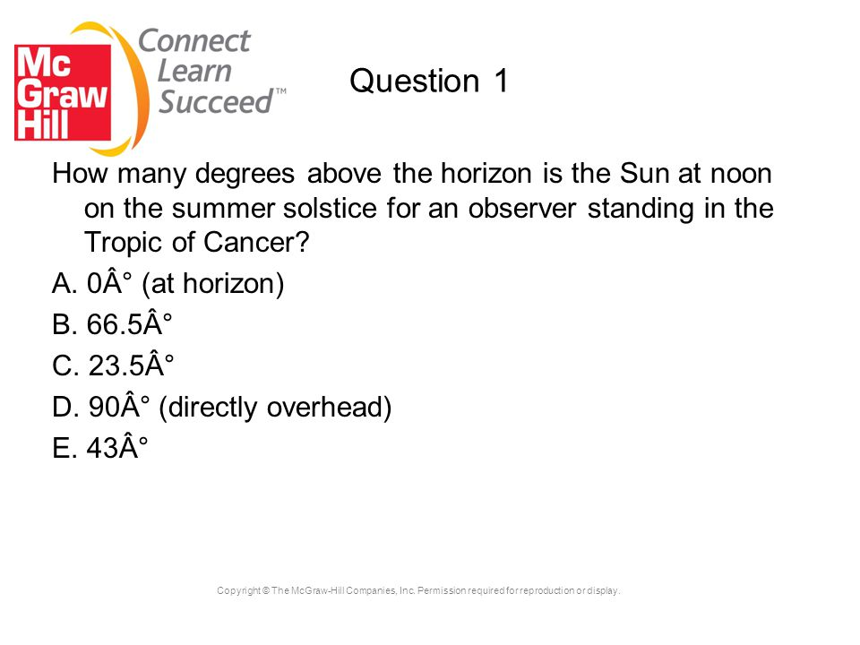 Question 1 How many degrees above the horizon is the Sun at noon on the summer solstice for an observer standing in the Tropic of Cancer