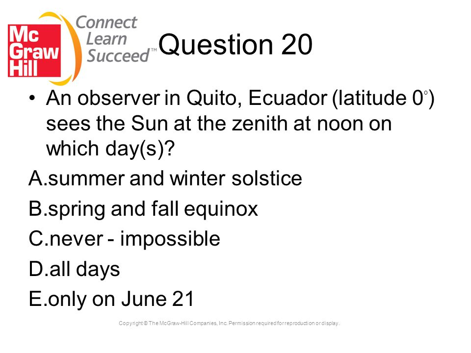 Question 20 An observer in Quito, Ecuador (latitude 0o) sees the Sun at the zenith at noon on which day(s)