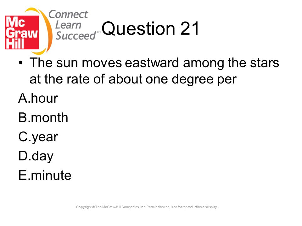 Question 21 The sun moves eastward among the stars at the rate of about one degree per. hour. month.
