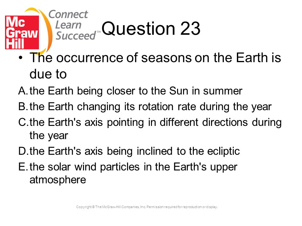 Question 23 The occurrence of seasons on the Earth is due to