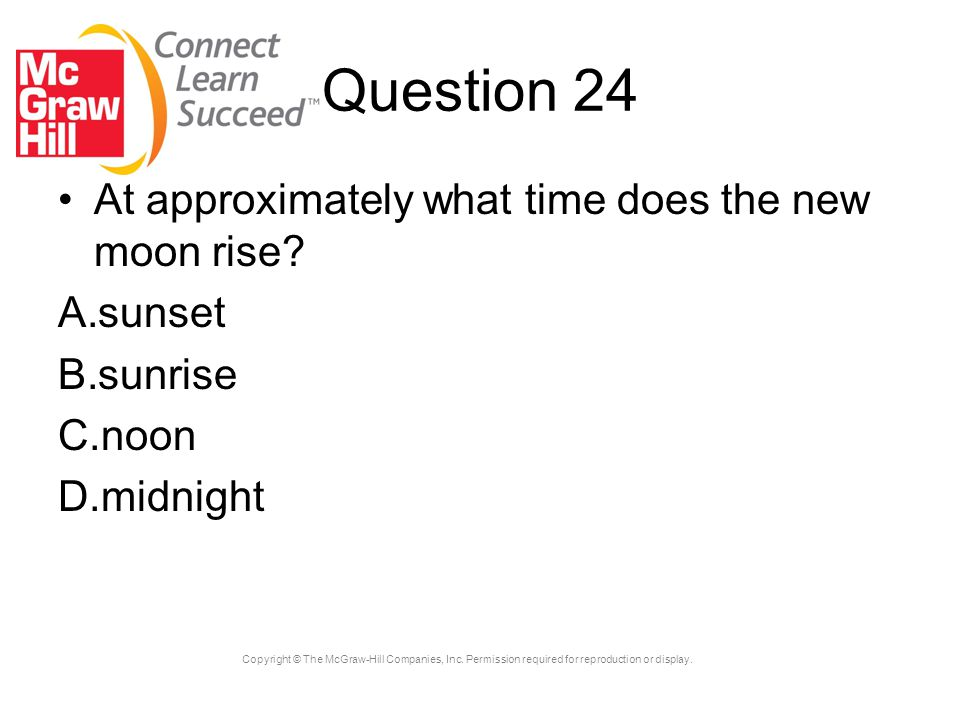 Question 24 At approximately what time does the new moon rise sunset