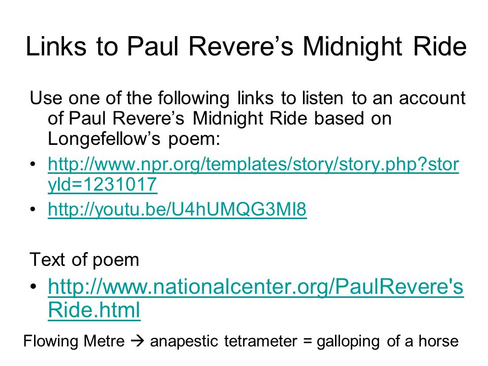 Links to Paul Revere's Midnight Ride