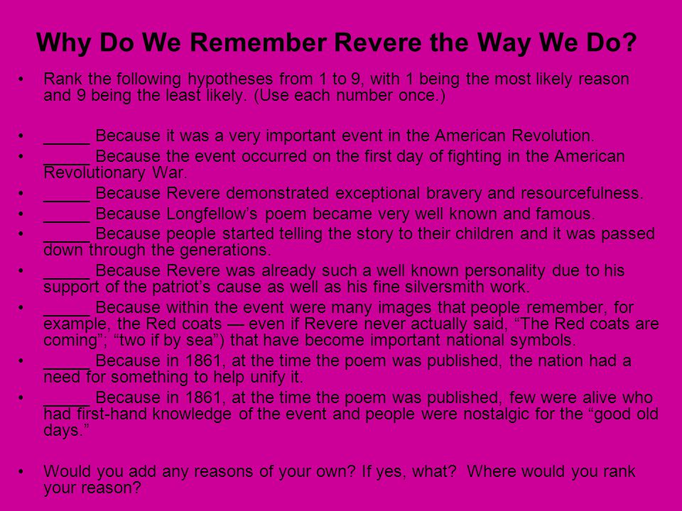 Why Do We Remember Revere the Way We Do