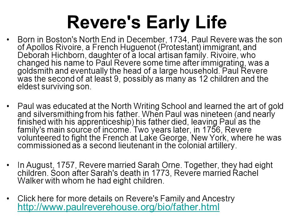 Revere s Early Life