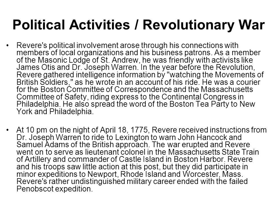 Political Activities / Revolutionary War