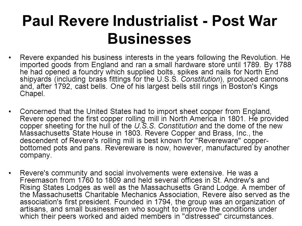 Paul Revere Industrialist - Post War Businesses