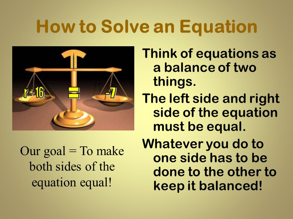 How to Solve an Equation
