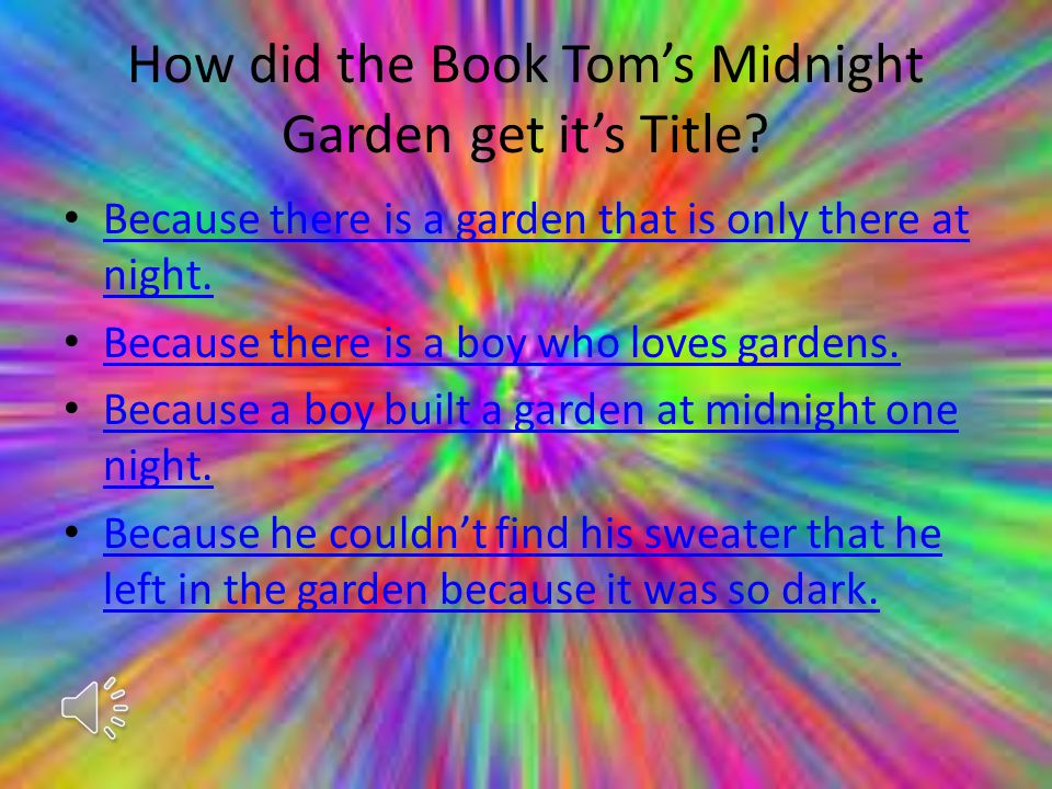 How did the Book Tom's Midnight Garden get it's Title