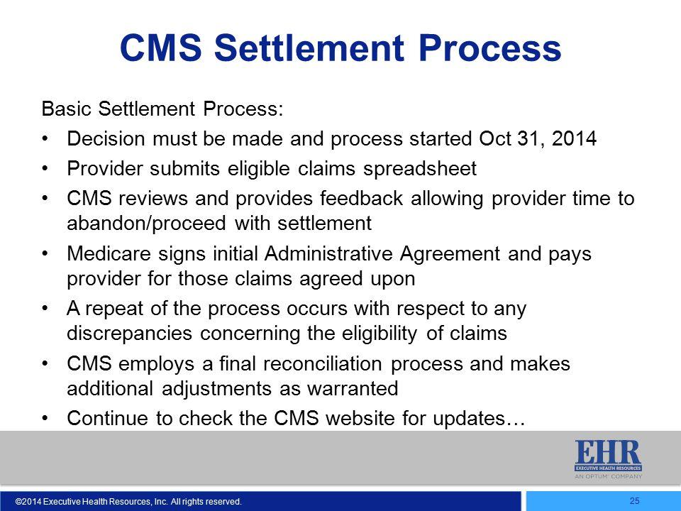 CMS Settlement Process