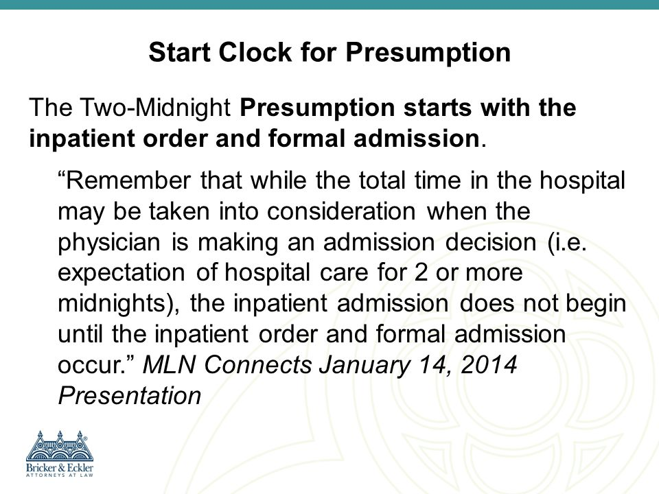 Start Clock for Presumption