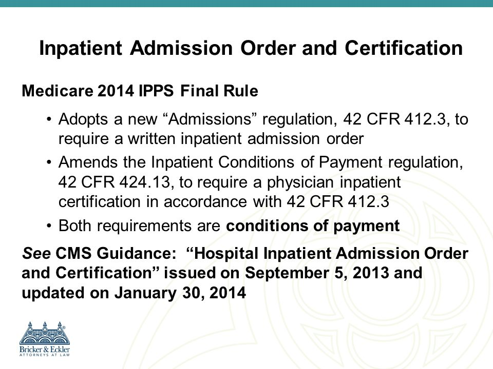 Inpatient Admission Order and Certification