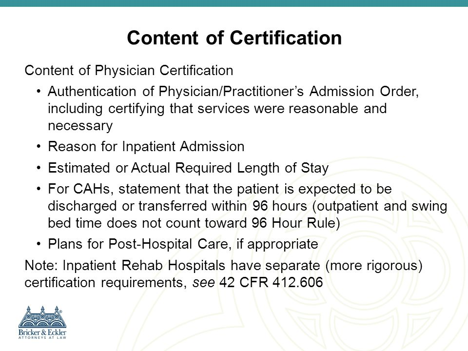 Content of Certification