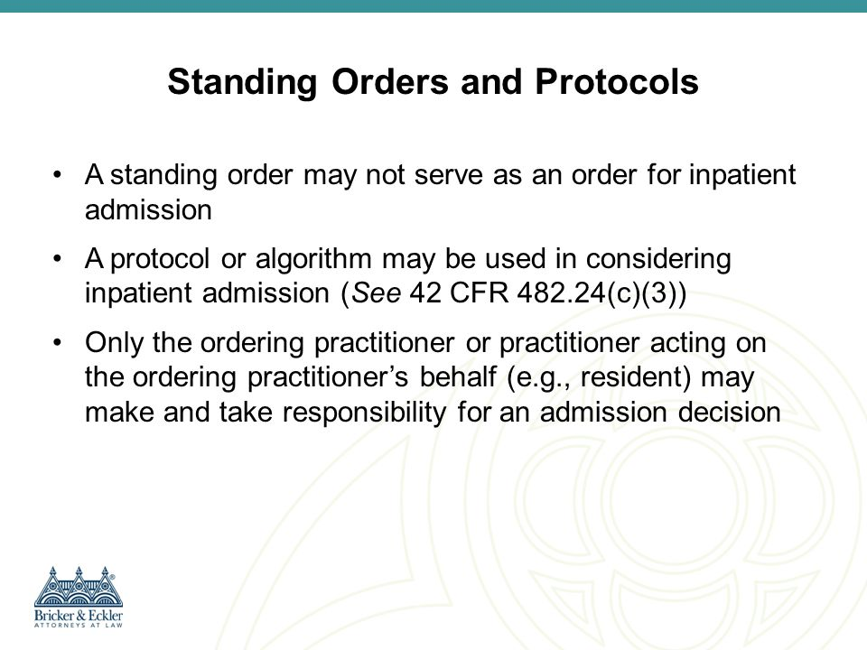 Standing Orders and Protocols