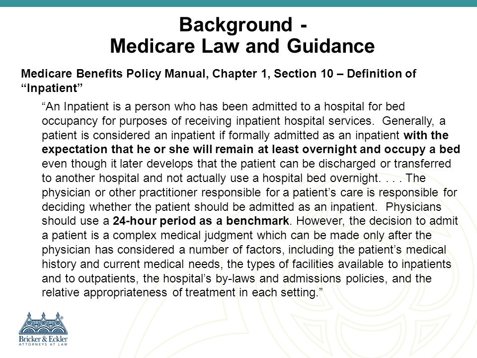 Background - Medicare Law and Guidance
