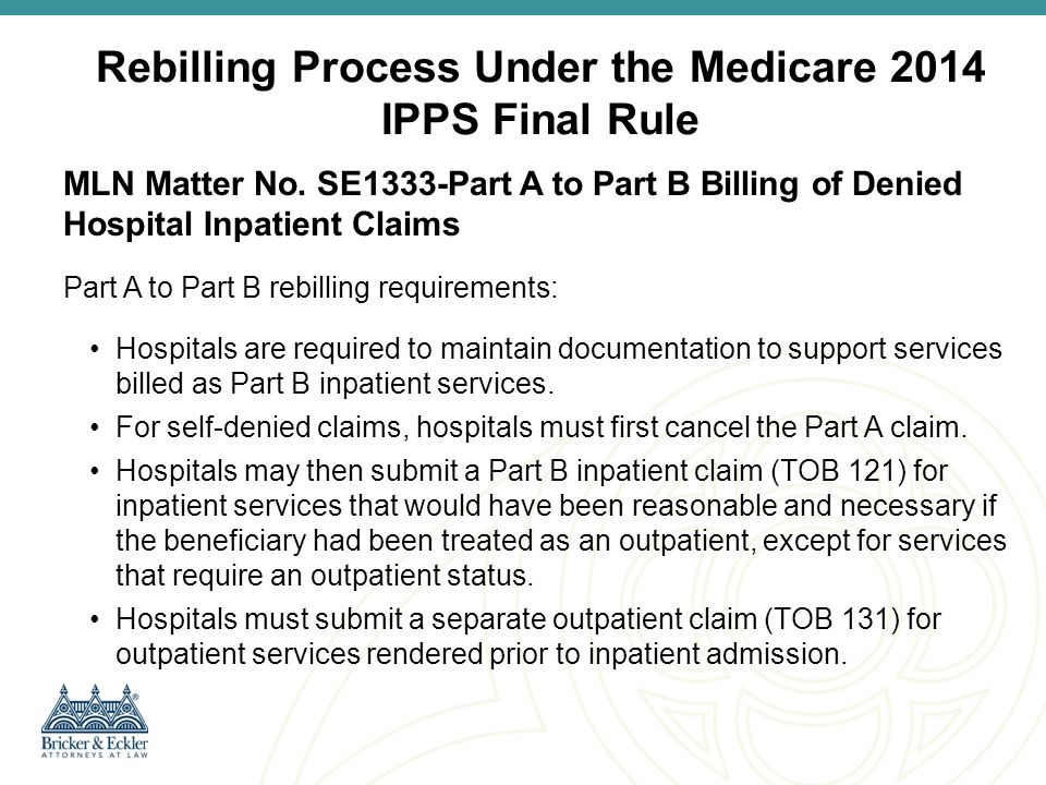 Rebilling Process Under the Medicare 2014 IPPS Final Rule