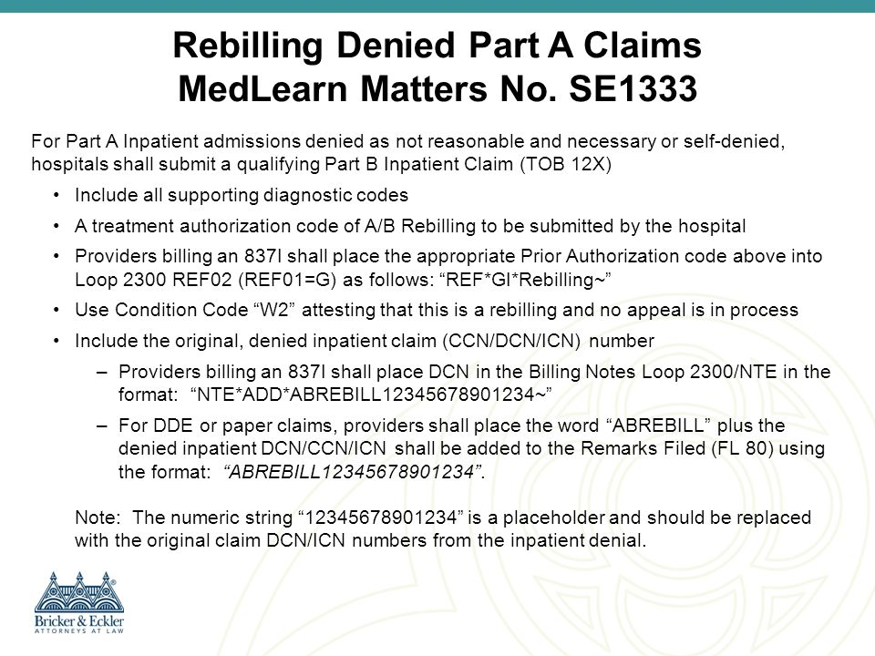 Rebilling Denied Part A Claims MedLearn Matters No. SE1333