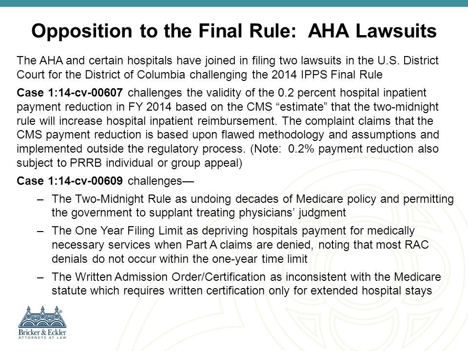 Opposition to the Final Rule: AHA Lawsuits