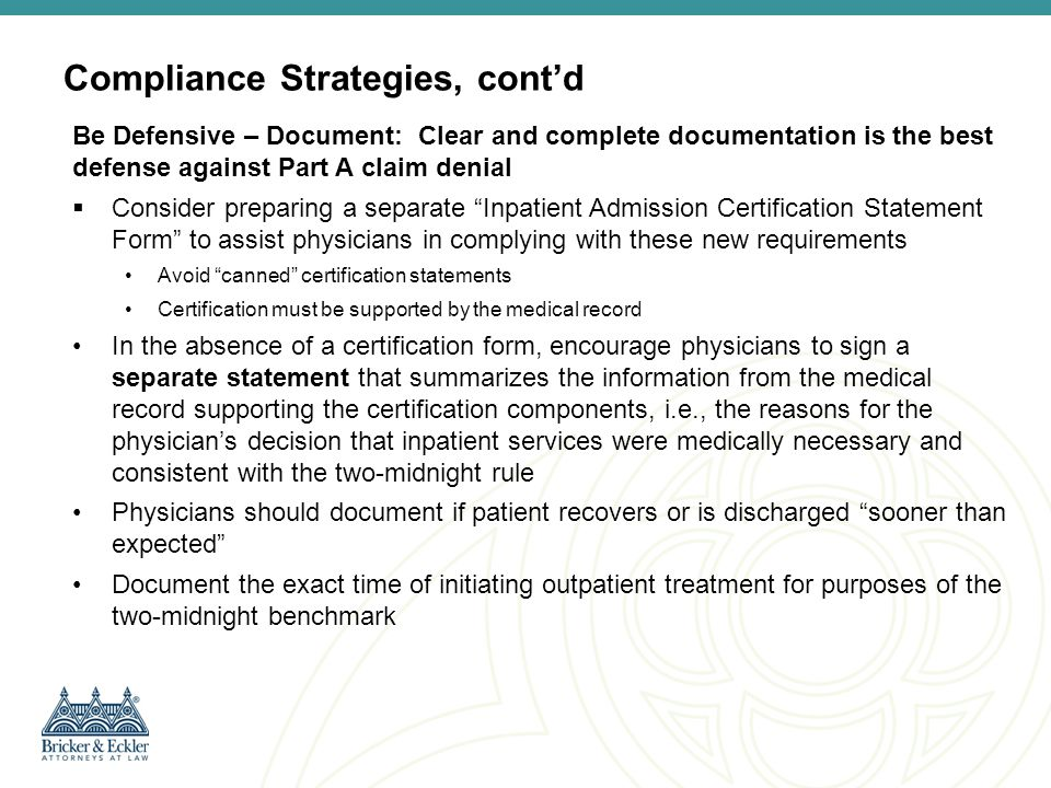 Compliance Strategies, cont'd