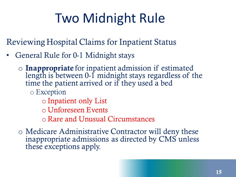 Two Midnight Rule Reviewing Hospital Claims for Inpatient Status