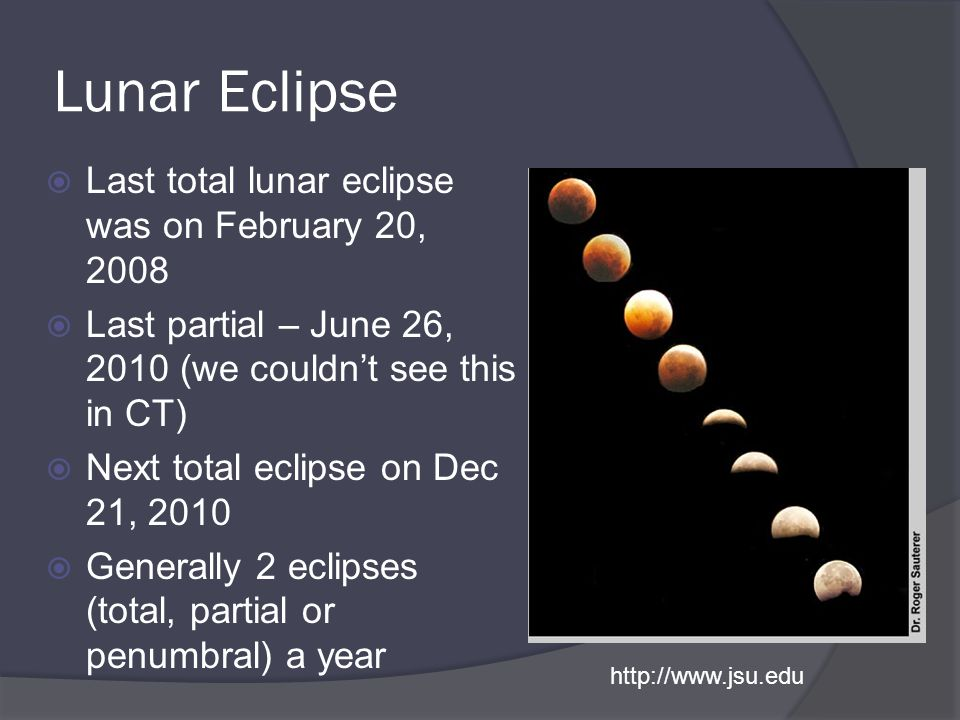 Lunar Eclipse Last total lunar eclipse was on February 20, 2008