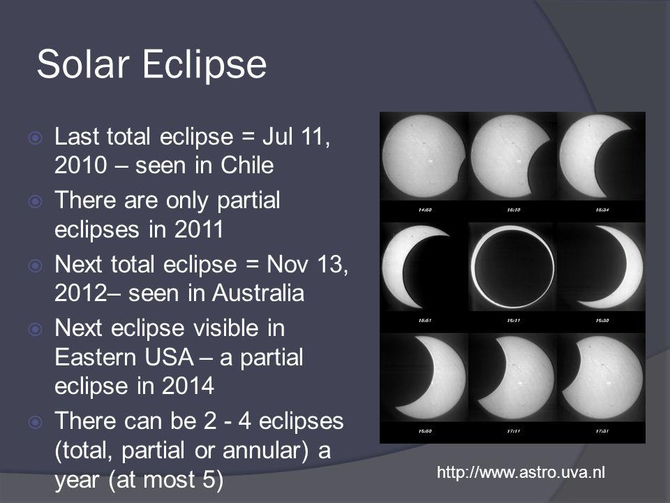 Solar Eclipse Last total eclipse = Jul 11, 2010 – seen in Chile