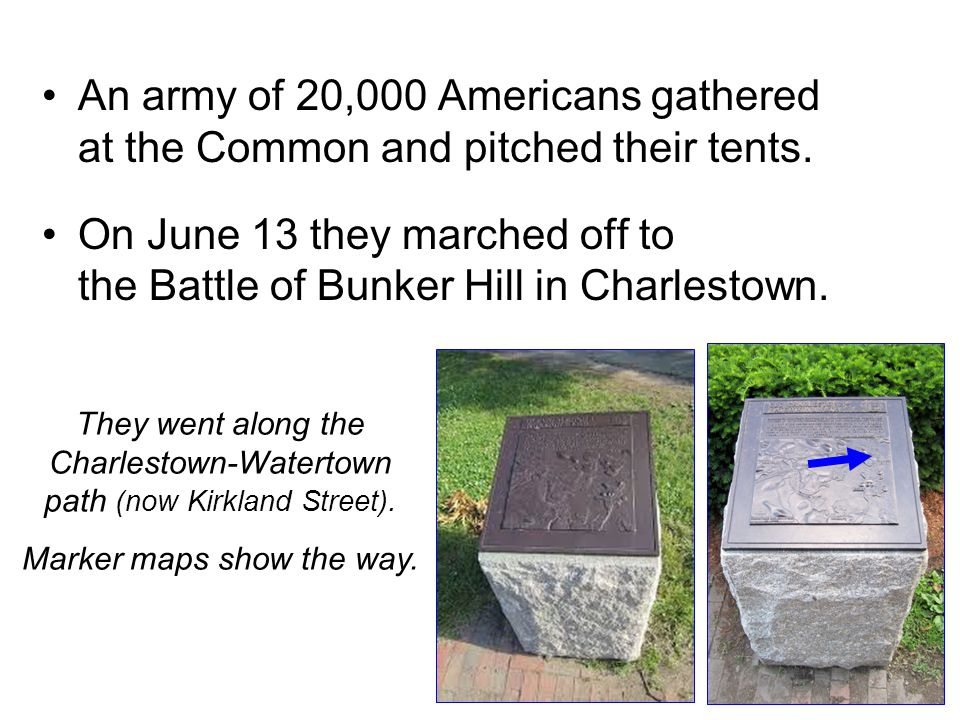 An army of 20,000 Americans gathered at the Common and pitched their tents.