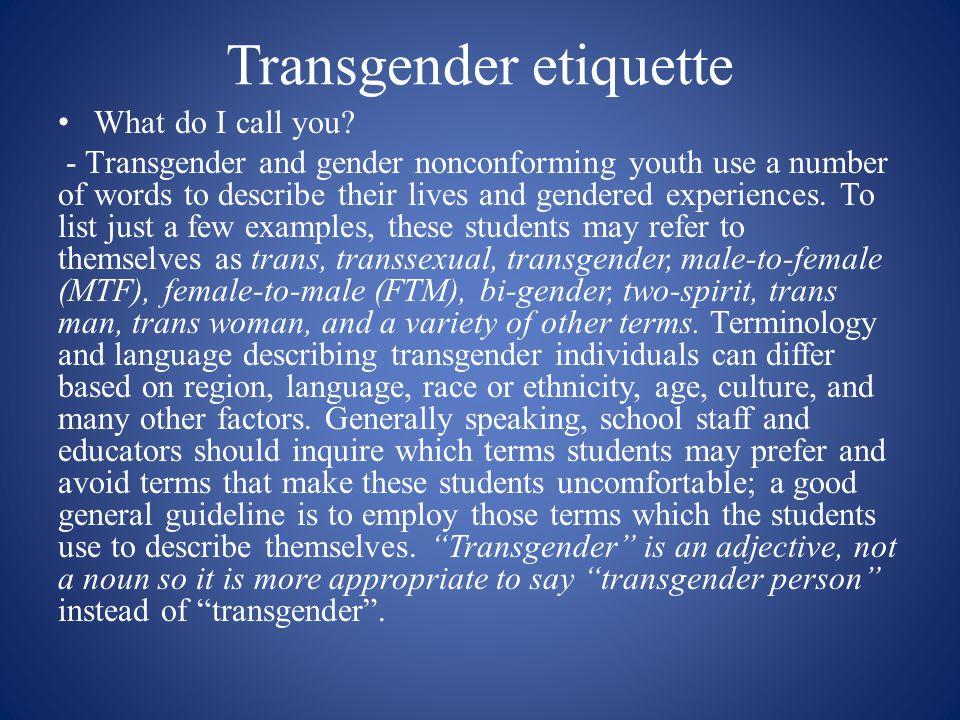 Transgender etiquette