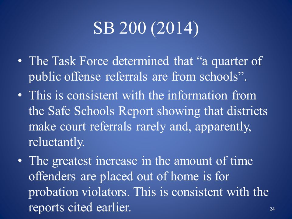 SB 200 (2014) The Task Force determined that a quarter of public offense referrals are from schools .