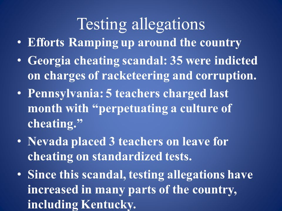 Testing allegations Efforts Ramping up around the country