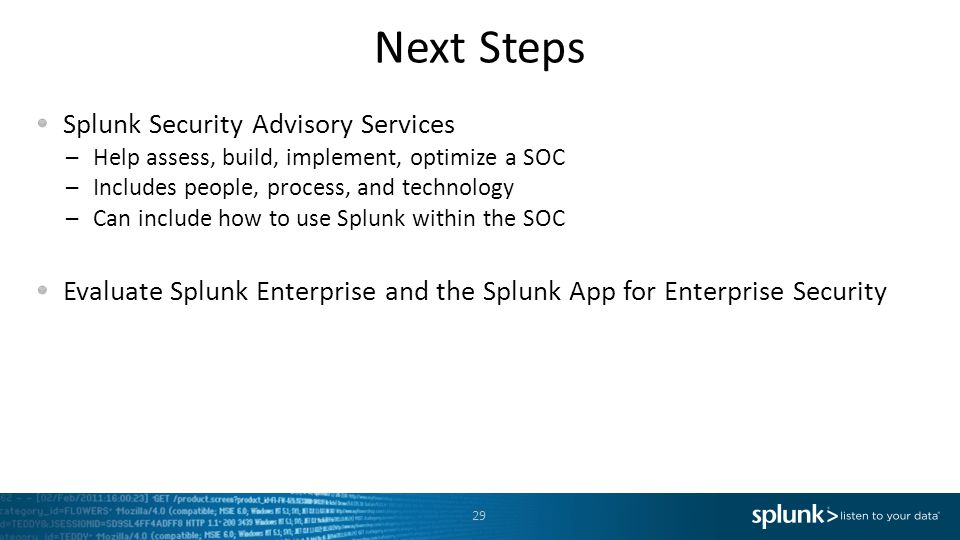 Next Steps Splunk Security Advisory Services