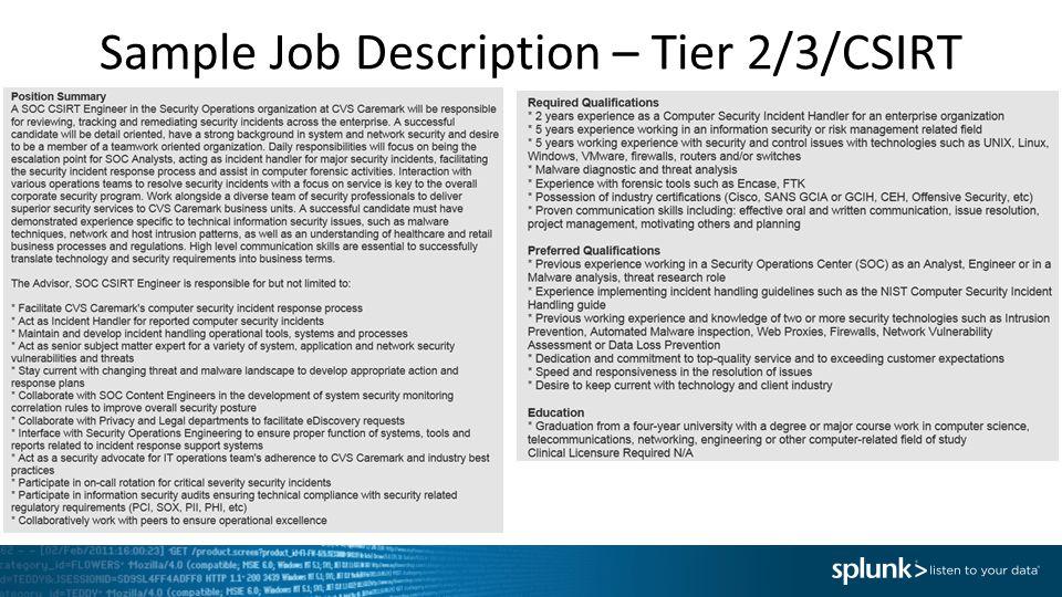 Sample Job Description – Tier 2/3/CSIRT