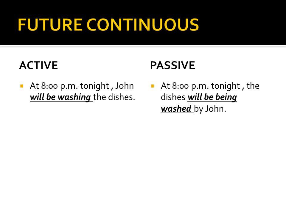 FUTURE CONTINUOUS active passive