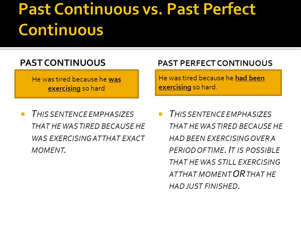 Past Continuous vs. Past Perfect Continuous