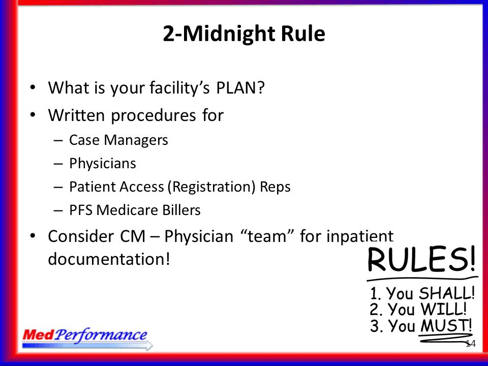 2-Midnight Rule What is your facility's PLAN Written procedures for