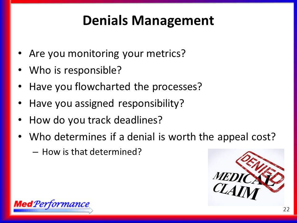 Denials Management Are you monitoring your metrics