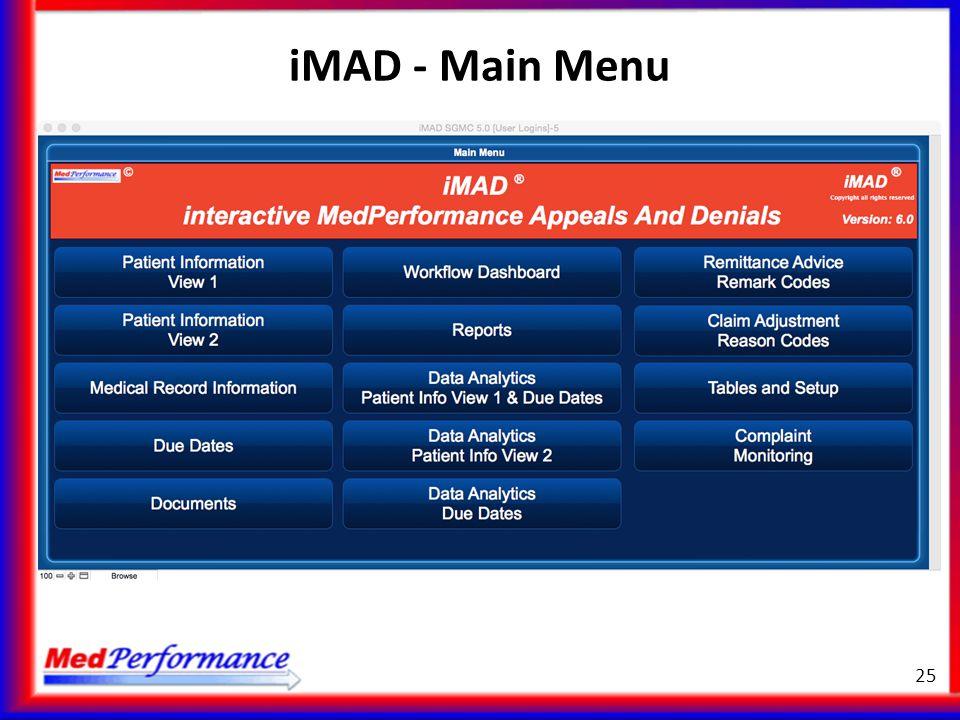 iMAD - Main Menu