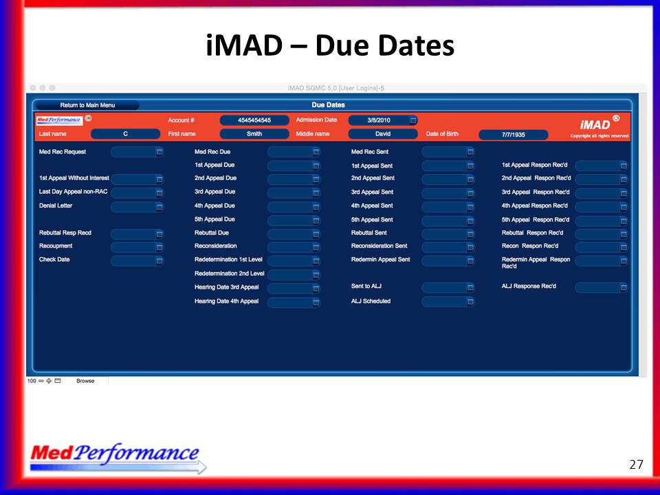 iMAD – Due Dates
