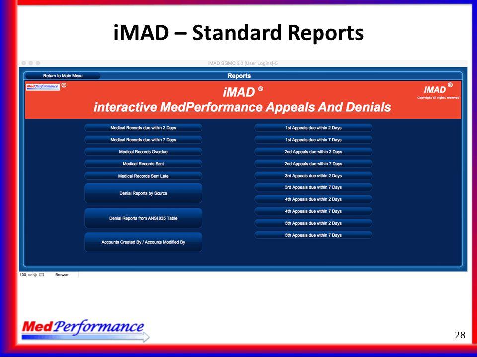 iMAD – Standard Reports