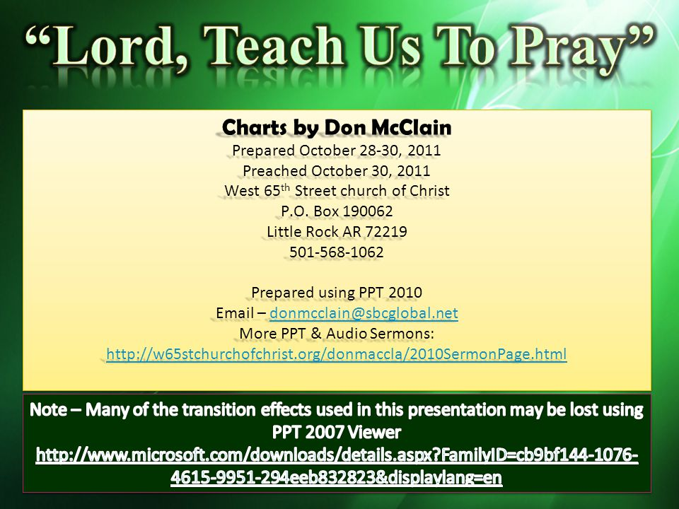 Lord, Teach Us To Pray Charts by Don McClain