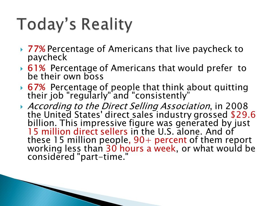Today's Reality 77% Percentage of Americans that live paycheck to paycheck 61% Percentage of Americans that would prefer to be their own boss.