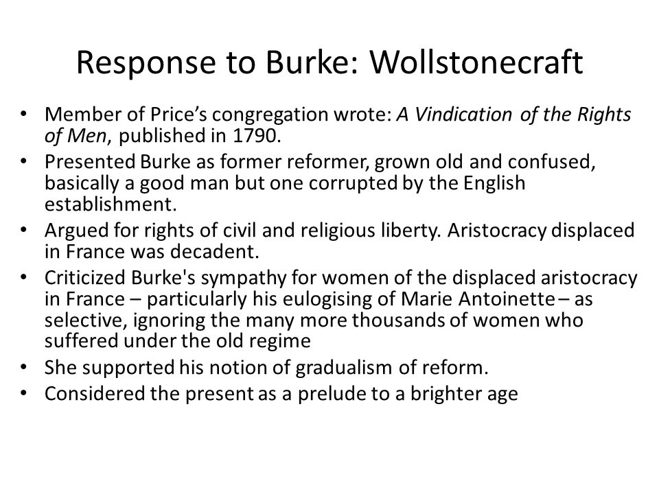 Response to Burke: Wollstonecraft