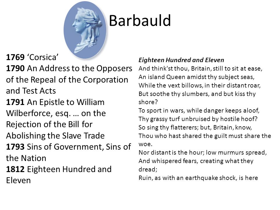 Barbauld 1769 'Corsica' 1790 An Address to the Opposers of the Repeal of the Corporation and Test Acts.